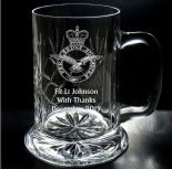 Military Emblem Crystal One Pint Tall Tankard PERSONALISED ref CTMT